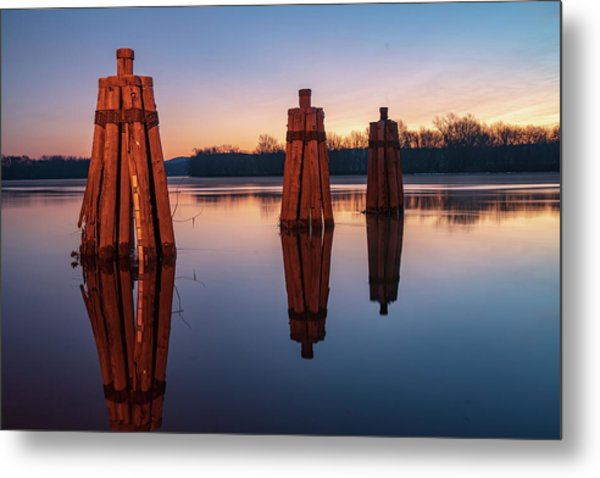 Group Of Three Docking Piles On Connecticut River Metal Print