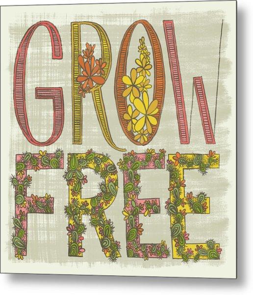 Grow Free Flowering Cacti Metal Print
