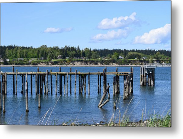 Guemes Island And Old Pier Metal Print