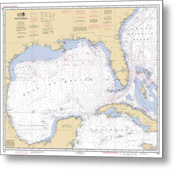 Gulf Of Mexico, Noaa Chart 411 Metal Print