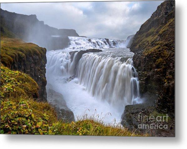 Gullfoss. Waterfall Located In The Metal Print