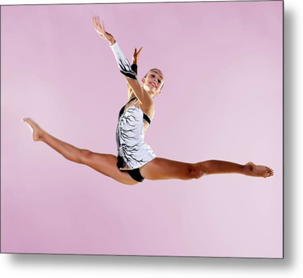Gymnast, Split, Mid Air, Black And Metal Print by Emma Innocenti