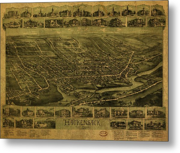 Hackensack New Jersey Vintage City Street Map 1896 Metal Print