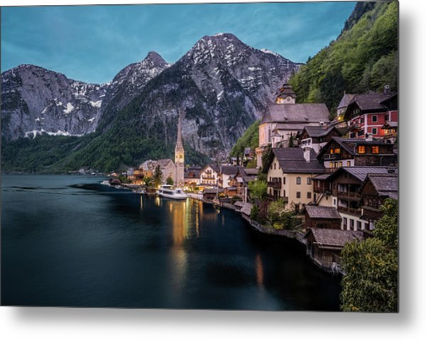 Hallstatt Village At Dusk, Austria Metal Print