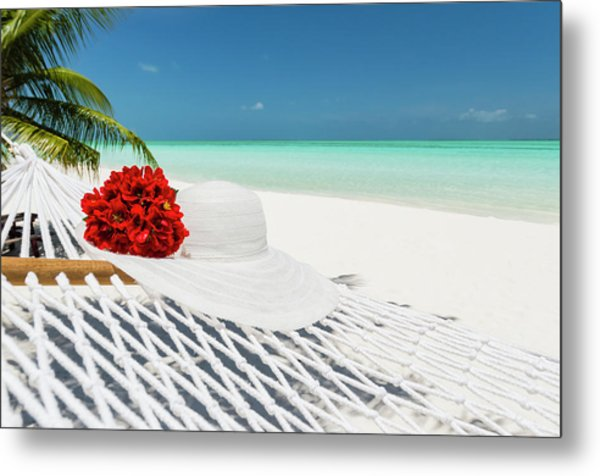 Hammock With Flowers And Hat On A Metal Print