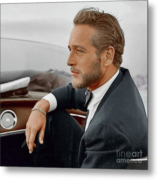 Hand Colored Picture Of Paul Newman Metal Print