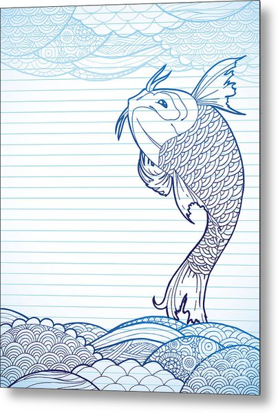 Hand Drawn Koi And Waves On Lined Paper Metal Print