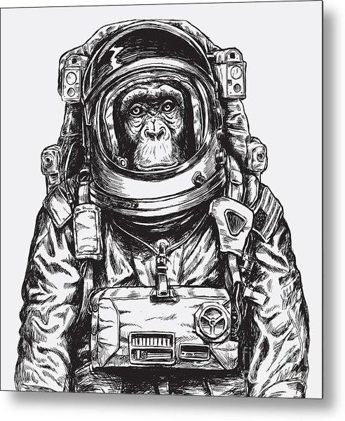 Hand Drawn Monkey Astronaut Vector Metal Print by Tairy Greene