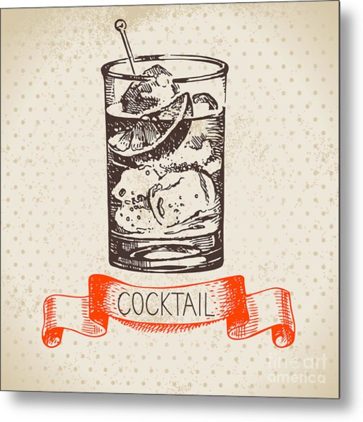 Hand Drawn Sketch Cocktail Vintage Metal Print