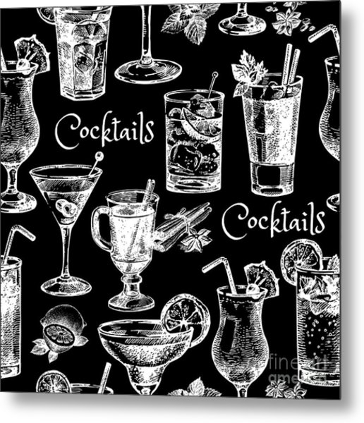 Hand Drawn Sketch Cocktails Seamless Metal Print