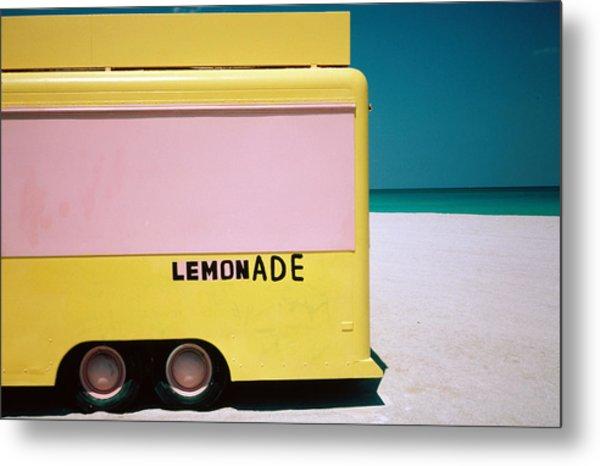 Hand Painted Lemonade Truck On Beach Metal Print