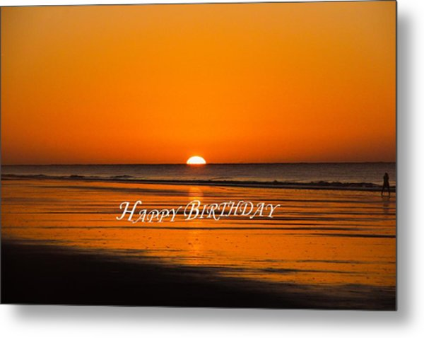 Happy Birthday At The Beach Metal Print