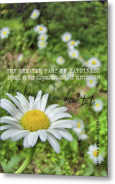 Happy Daisy Quote Metal Print by JAMART Photography