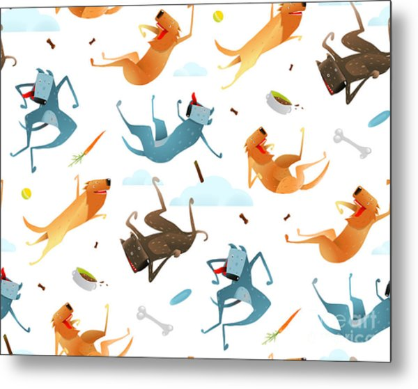 Happy Dogs And Doggy Food Seamless Metal Print