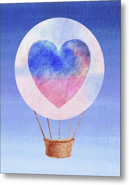 Happy Heart Hot Air Balloon Watercolor I Metal Print