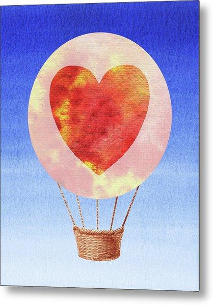 Happy Heart Hot Air Balloon Watercolor II Metal Print
