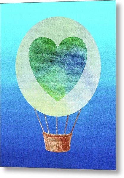 Happy Heart Hot Air Balloon Watercolor IIi Metal Print