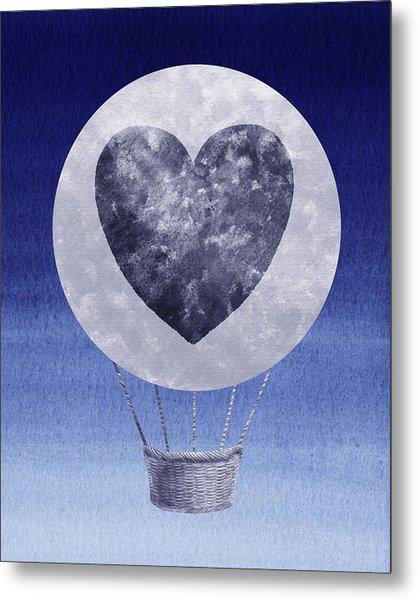 Happy Heart Hot Air Balloon Watercolor Ix Metal Print