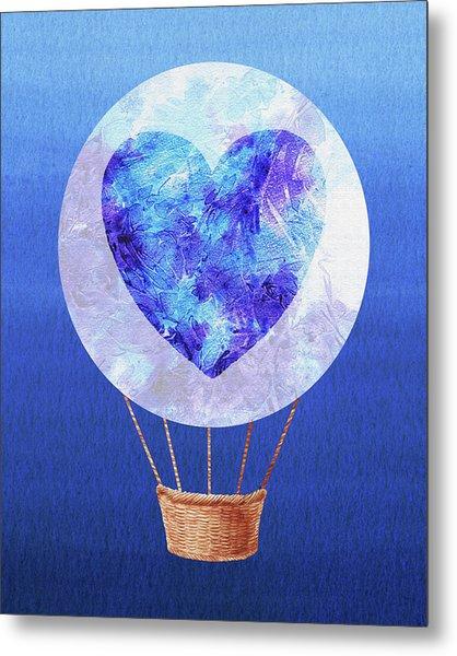 Happy Heart Hot Air Balloon Watercolor Vii Metal Print