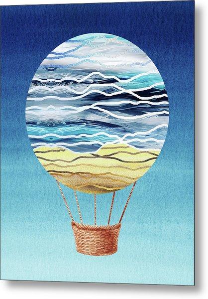 Happy Hot Air Balloon Watercolor Xxi Metal Print
