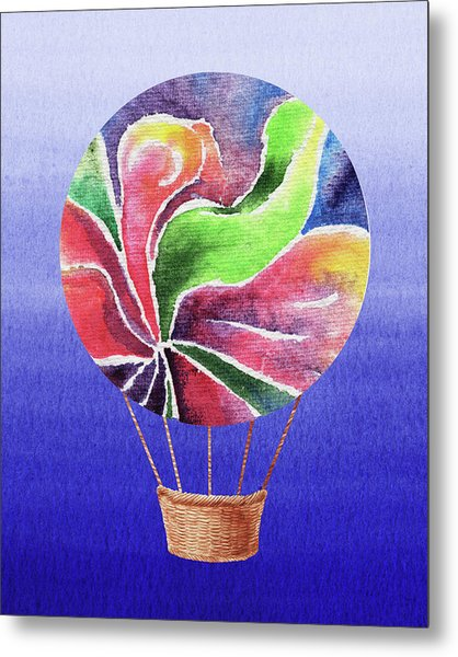 Happy Hot Air Balloon Watercolor Xxv Metal Print