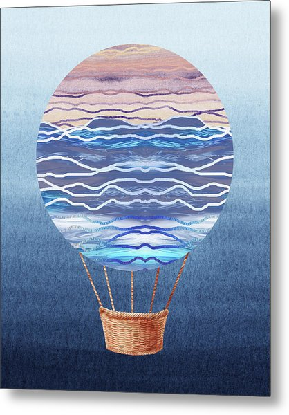 Happy Hot Air Balloon Watercolor Xxvi Metal Print