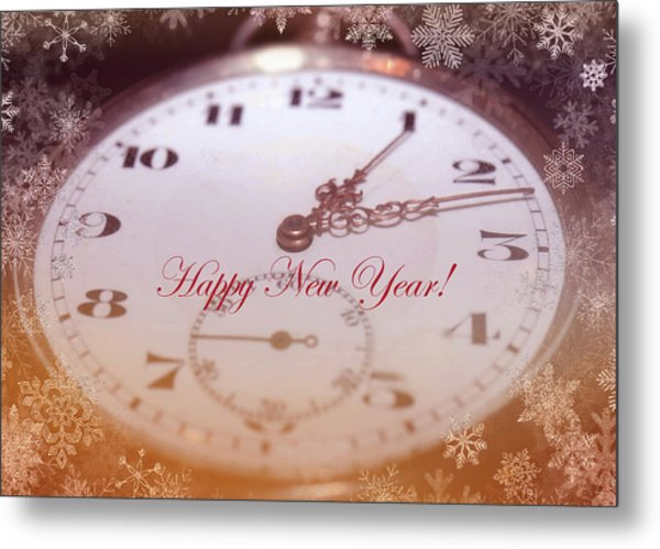 Happy New Year With Decorative And Nostalgic Theme. Metal Print