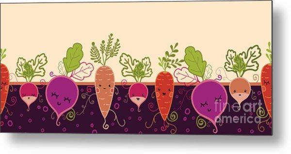 Happy Root Vegetables Horizontal Metal Print by Oksancia