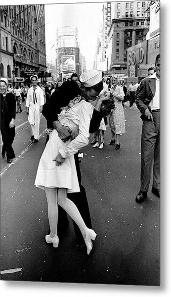 Happy Sailor Kissing Nurse In Times Metal Print by Alfred Eisenstaedt