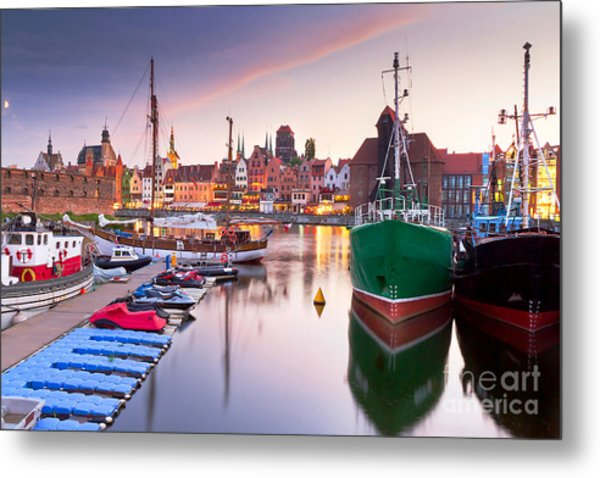 Harbor At Motlawa River With Old Town Metal Print