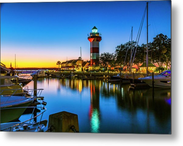 Harbor Town Lighthouse - Blue Hour Metal Print