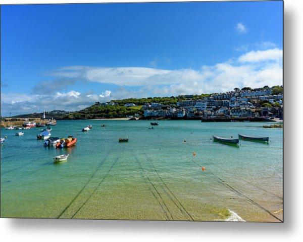 Harbour To Porthminster St Ives Cornwall Metal Print
