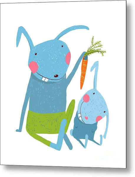 Hare And Leveret Eating Carrot . Animal Metal Print