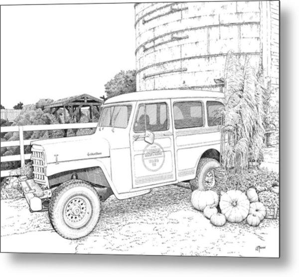 Harvest At Magnolia - Ink Metal Print