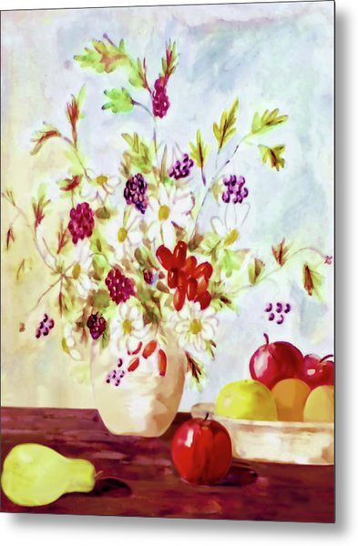 Harvest Time-still Life Painting By V.kelly Metal Print