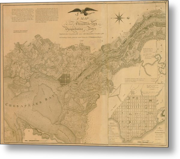 Havre De Grace, Susquehanna River And Metal Print by Historic Map Works Llc