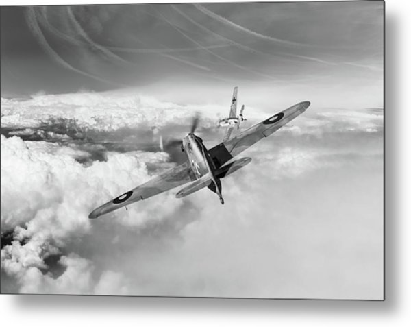 Metal Print featuring the photograph Hawker Hurricane Deflection Shot Bw Version by Gary Eason
