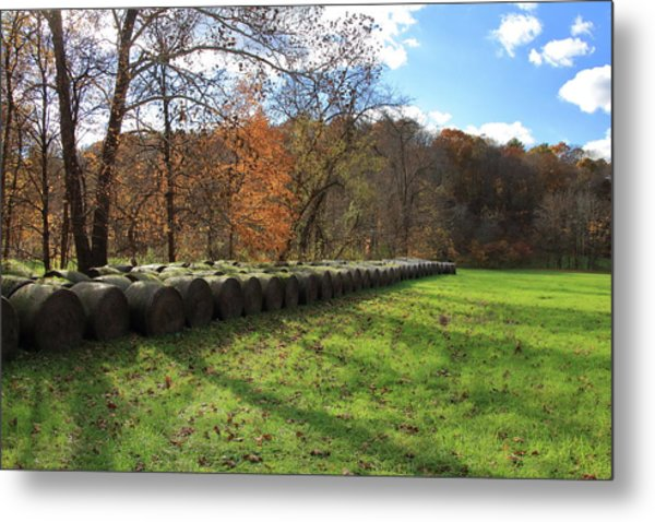 Metal Print featuring the photograph Hay Bales On An Autumn Day by Angela Murdock