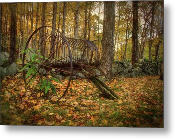 Metal Print featuring the photograph Hay Rake On Farm In Autumn by Joann Vitali