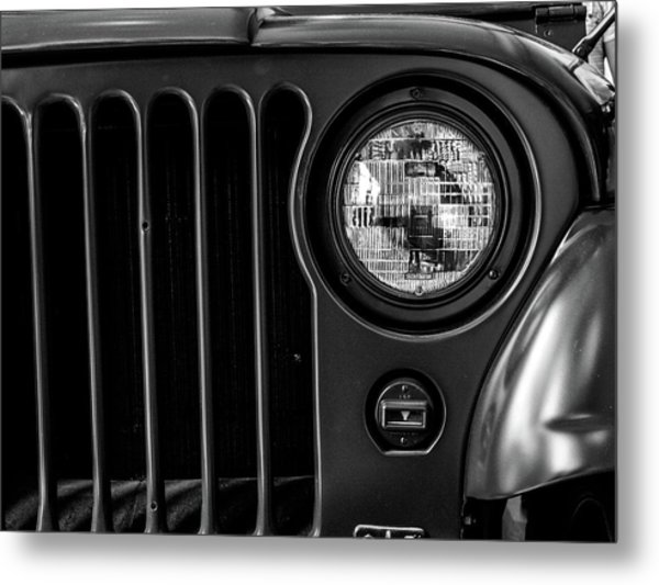 Metal Print featuring the photograph Headlight, Jeep by Edward Lee