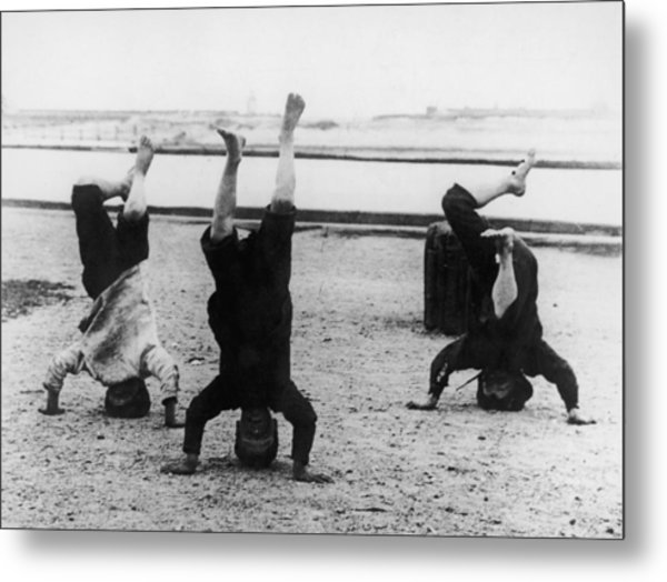 Headstand Boys Metal Print by Paul Martin