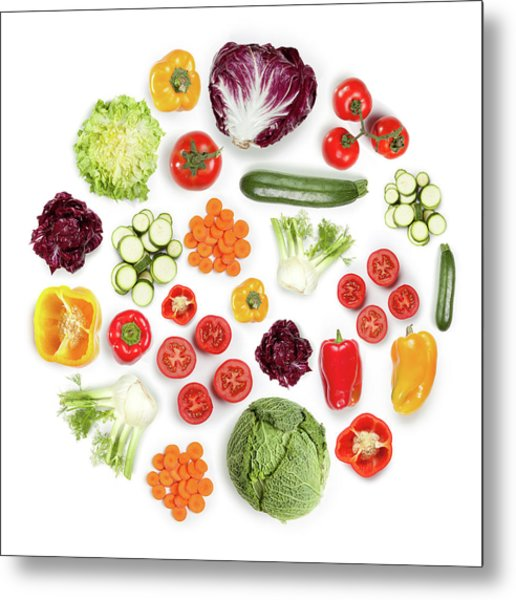 Healthy Fruits And Vegetables In Round Metal Print by Maxiphoto