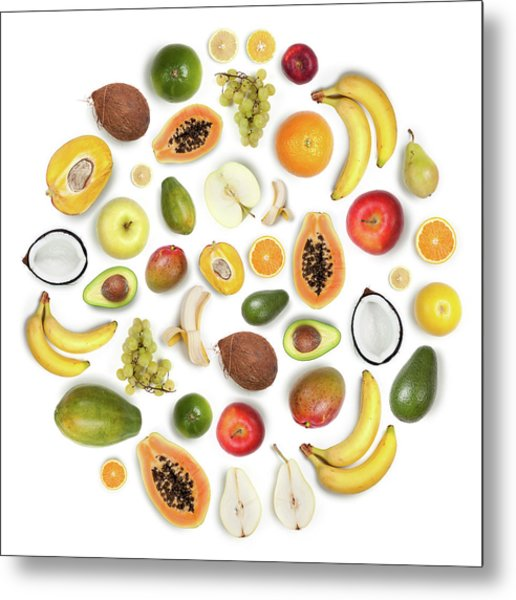 Healthy Fruits Arranged In A Round Metal Print