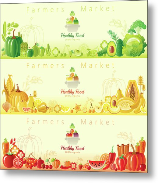 Healthy Organic Food Banners Metal Print by O-che