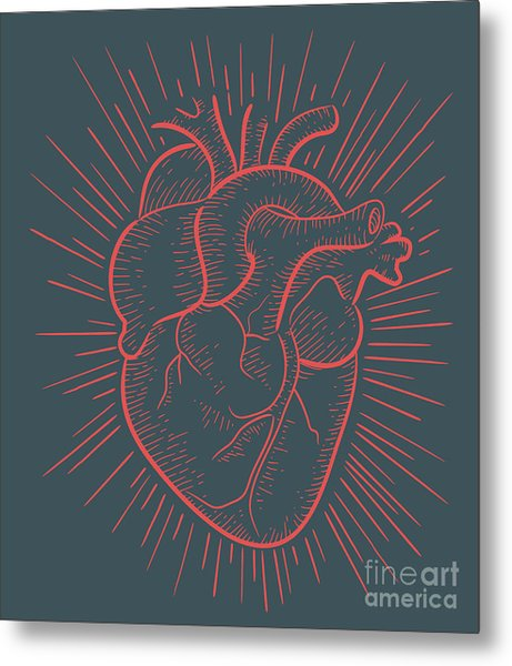 Heart On Red Metal Print