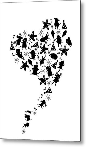 Heart Shaped Dogs And Stars In Black & Metal Print by Meg Takamura