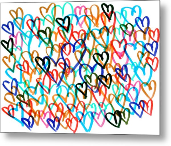 Metal Print featuring the drawing Hearts by Bee-Bee Deigner