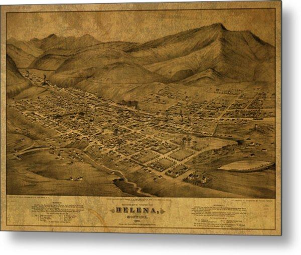 Helena Montana Vintage City Street Map 1875 Metal Print