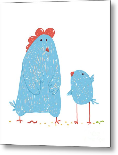 Hen And Chicken Childish Cartoon Metal Print
