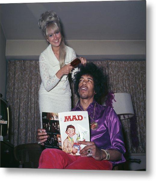 Hendrix Hair Metal Print by Rolls Press/popperfoto